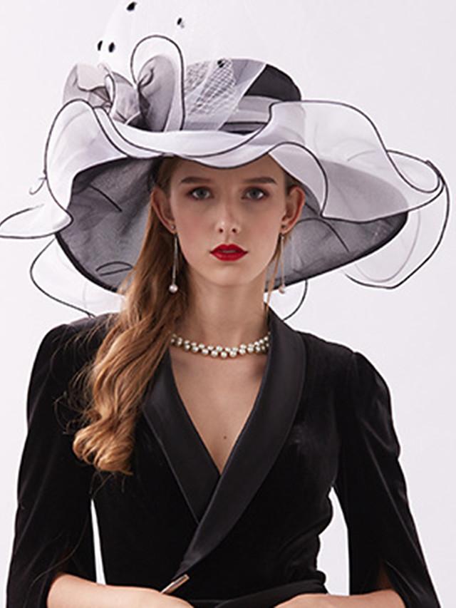 Organza / Plumes Kentucky Derby Hat / Fascinators / Coiffe avec Plume / Fleur / Etagée 1 Pièce Mariage / De plein air / Course de chevaux Casque
