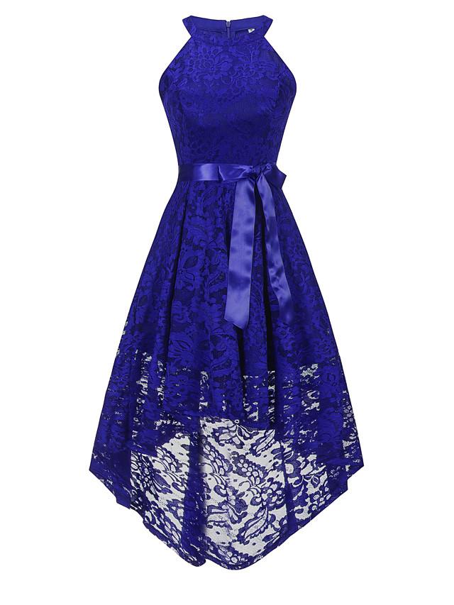 retour à l'école a-ligne robe de cocktail de retour à la maison bleu chaud licou sans manches en dentelle asymétrique avec ceinture / ruban noeud (s) 2020 Hoco robe