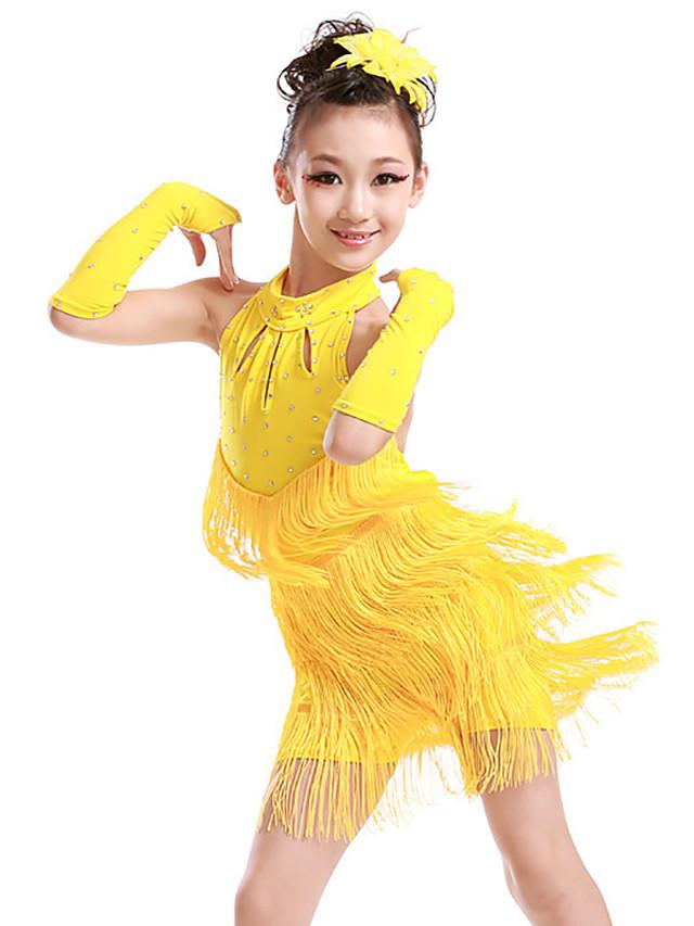 Danse latine Tenues de Danse pour Enfants Robe Gland Cristaux / Stras Fille Entraînement Utilisation Sans Manches Polyester