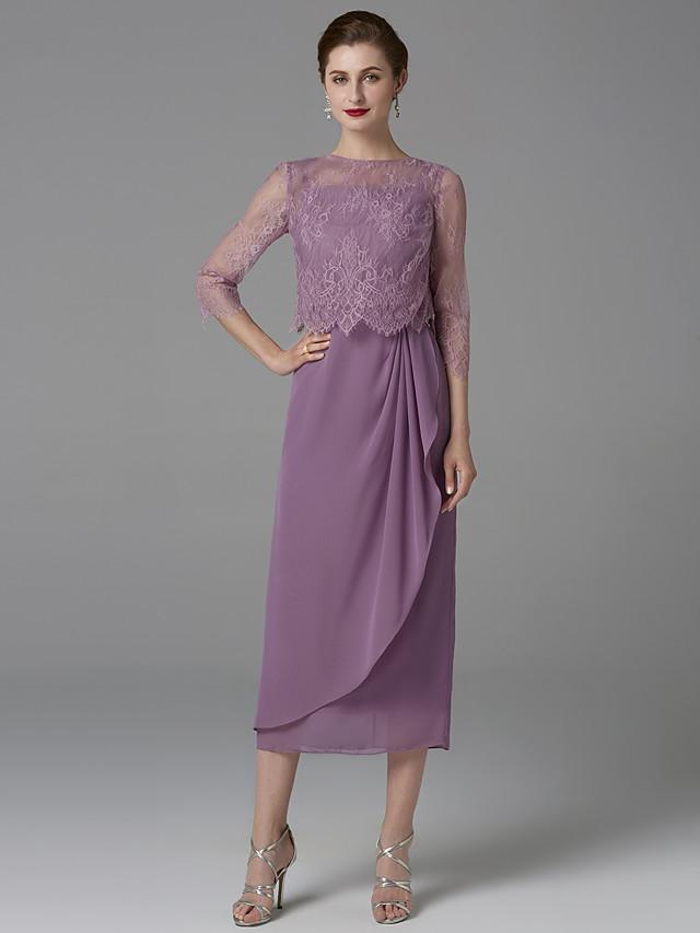 gaine / colonne mère de la mariée robe wrap inclus bijou cou longueur de thé en mousseline de soie dentelle manches 3/4 avec motif / imprimé 2020 mère des robes de marié