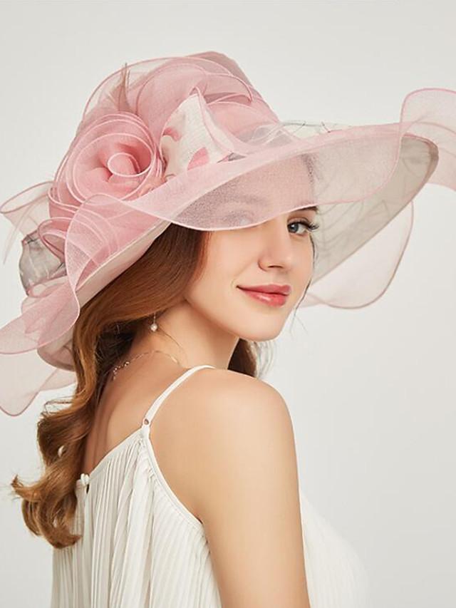 Organza Headwear with Flower / Ruffle 1 Piece Wedding / Sports & Outdoor / Tea Party Headpiece
