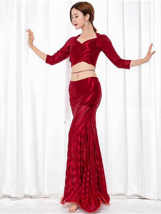 Danse du ventre Jupes Ruché Femme Utilisation Manches 3/4 Taille basse Tulle