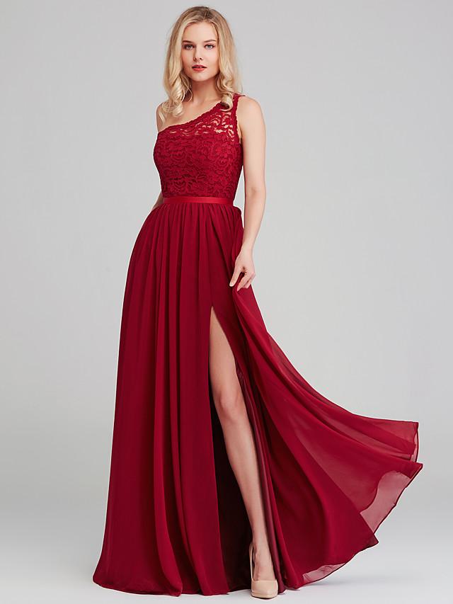 A-라인 원 숄더 긴 길이 쉬폰 / 레이스 신부 들러리 드레스 와 허리끈 / 리본