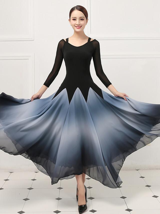 Danse de Salon Robe Combinaison Femme Entraînement Utilisation Manches 3/4 Taille moyenne Coton cristal Imitation Soie