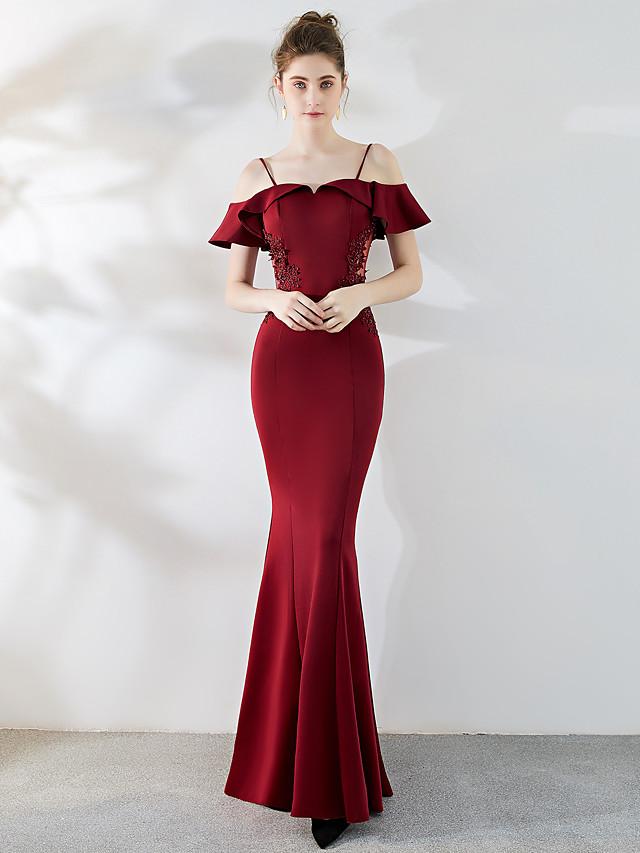 Trompette / Sirène Elégant & Luxueux Elégant robe ceremonie Robe Bretelles Fines Manches Courtes Longueur Sol Satin Tulle avec Billes 2021