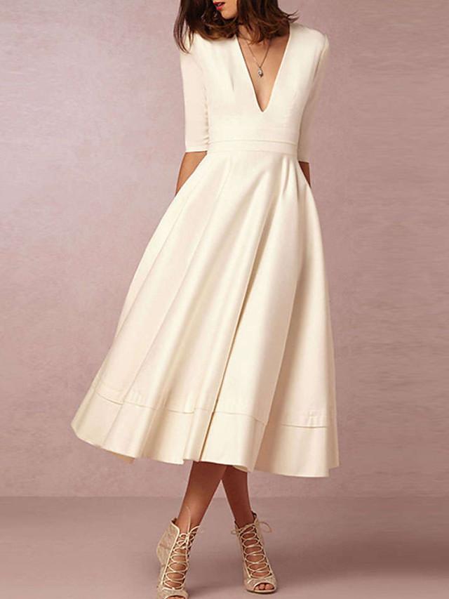 A-Linie Hochzeitskleider V-Ausschnitt Tee-Länge Satin ...