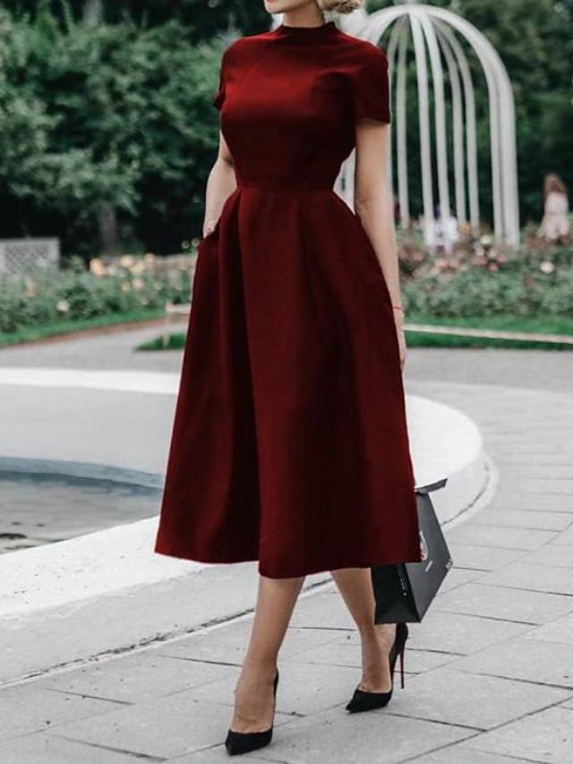 A-라인 오픈 백 홀리데이 칵테일 파티 발렌타인 데이 드레스 하이 넥 짧은 소매 발목 길이 폴리에스테르 와 주름 2021