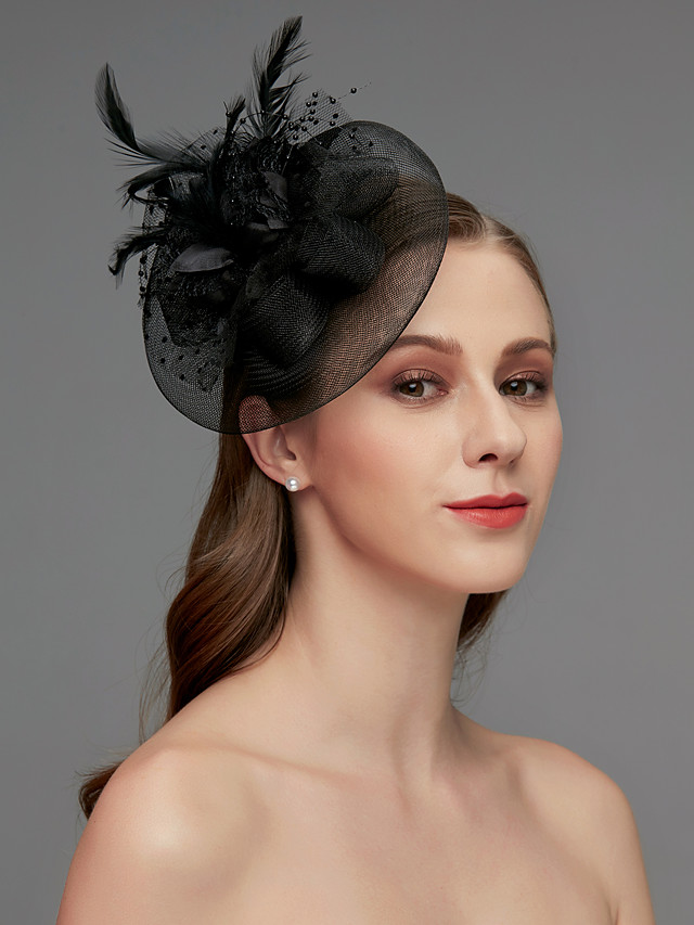 Net Fascinators / Headdress / Headpiece with Feather