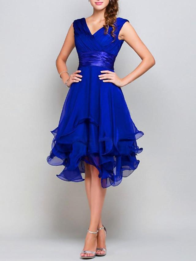 A-라인 뜨거운 웨딩 게스트 칵테일 파티 드레스 V 넥 민소매 비대칭 쉬폰 와 타이어 2021