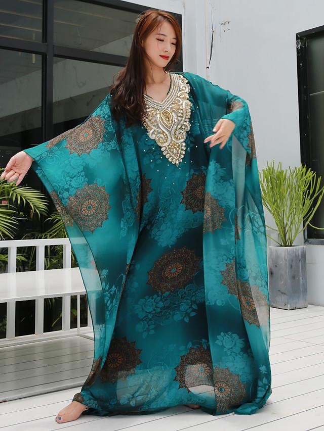 밸리 댄스 코트 비즈 패턴 / 프린트 여성용 성능 반 소매 드롭 쉬폰