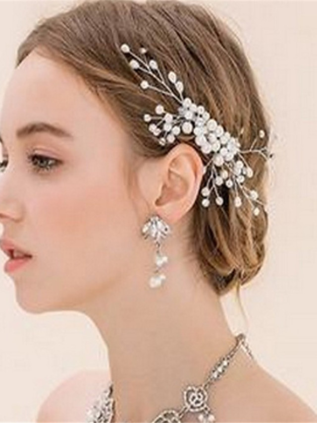 Crystal / Imitation Pearl / Alloy Hair Clip with Crystal / Imitation Pearl 1 Piece Wedding Headpiece