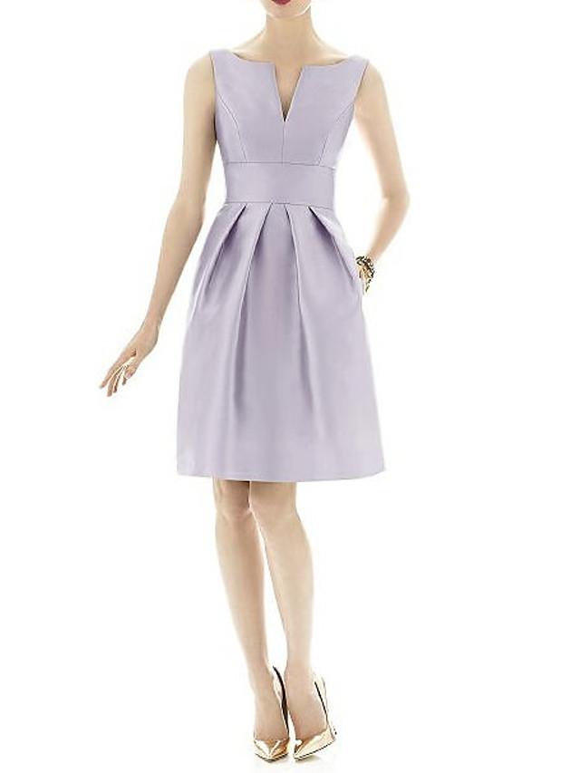 A-라인 V 넥 무릎 길이 새틴 신부 들러리 드레스 와 주름