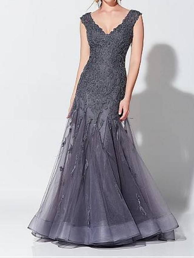 트럼펫 / 머메이드 우아함 웨딩 게스트 포멀 이브닝 드레스 V 넥 민소매 바닥 길이 튤 와 아플리케 2021