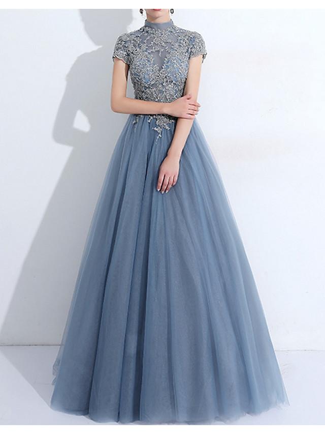 A-라인 우아함 빈티지 성인식 댄스 파티 드레스 하이 넥 짧은 소매 바닥 길이 튤 와 주름 아플리케 2021
