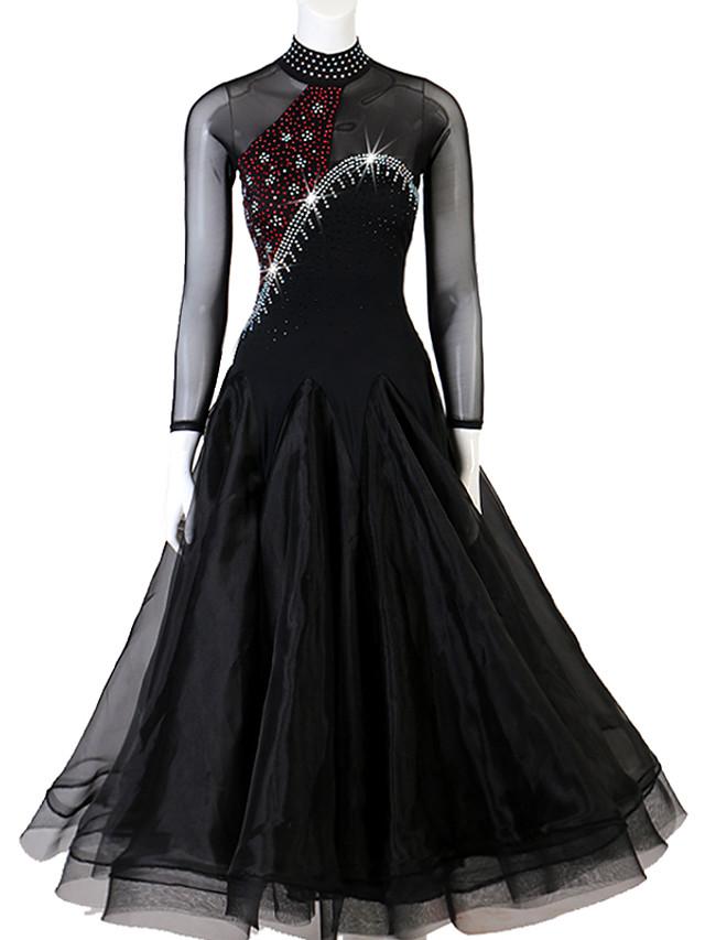 볼륨 댄스 드레스 크리스탈 / 라인석 여성용 성능 긴 소매 스판덱스 오간자