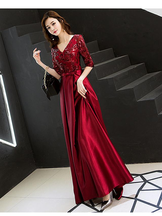 A-라인 스파클 우아함 웨딩 게스트 댄스 파티 포멀 이브닝 드레스 V 넥 반 소매 바닥 길이 새틴 스팽글 와 2021