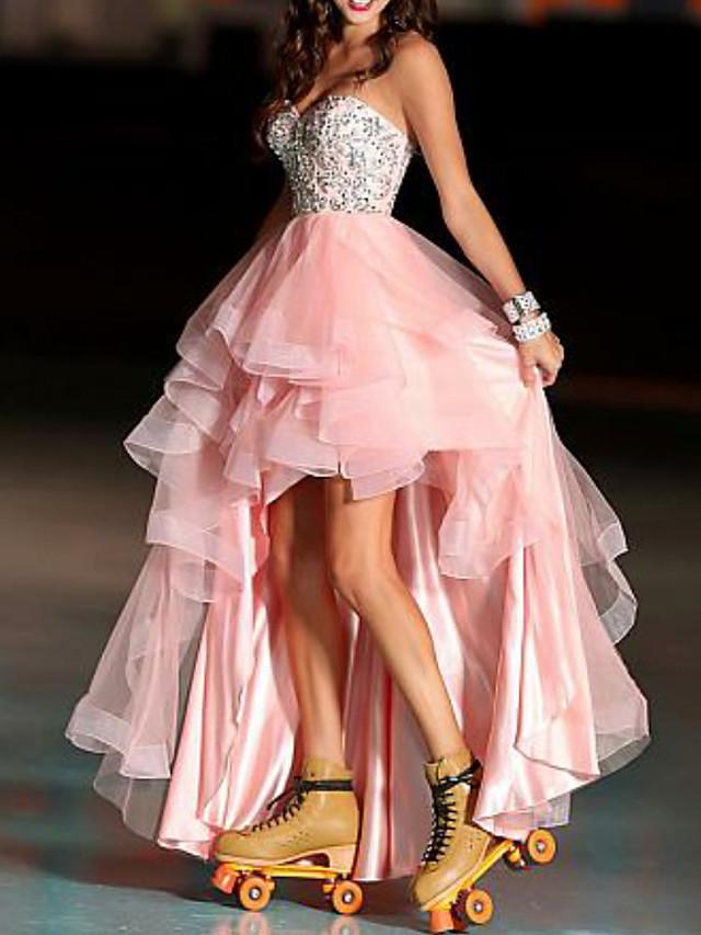 A-라인 컬러 블럭 댄스 파티 포멀 이브닝 드레스 스윗하트 민소매 비대칭 튤 와 비즈 2021