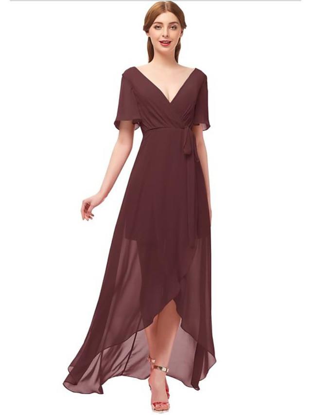 A-라인 급경사 네클라인 비대칭 쉬폰 신부 들러리 드레스 와 리본 / 루시 주름 장식