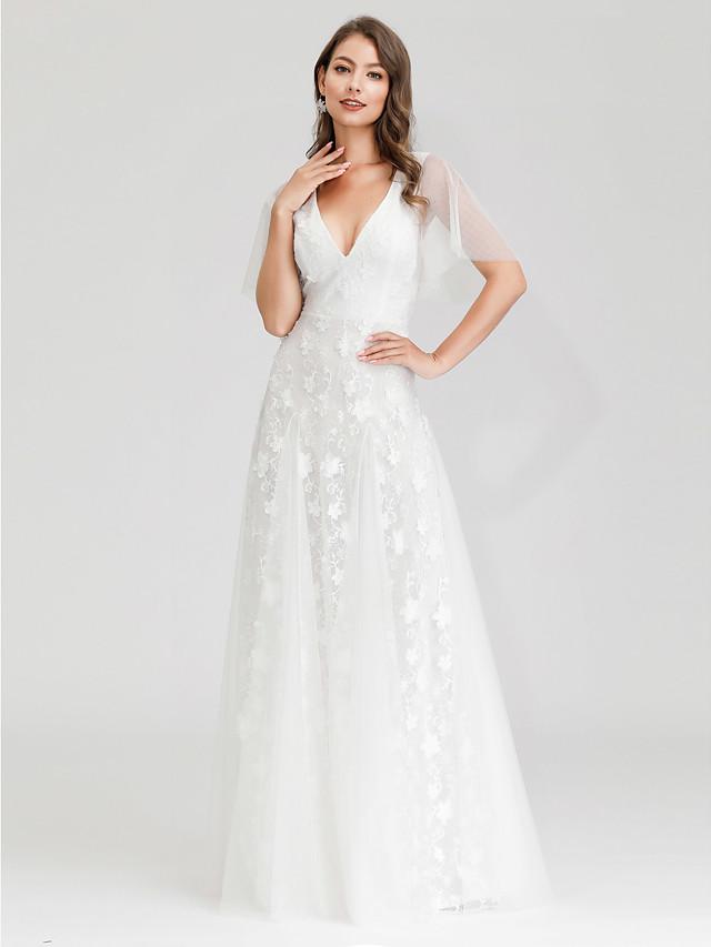 A-라인 웨딩 드레스 V 넥 맥시 튤 짧은 소매 리틀 화이트 드레스 환상 세부 사항 와 레이스 2021
