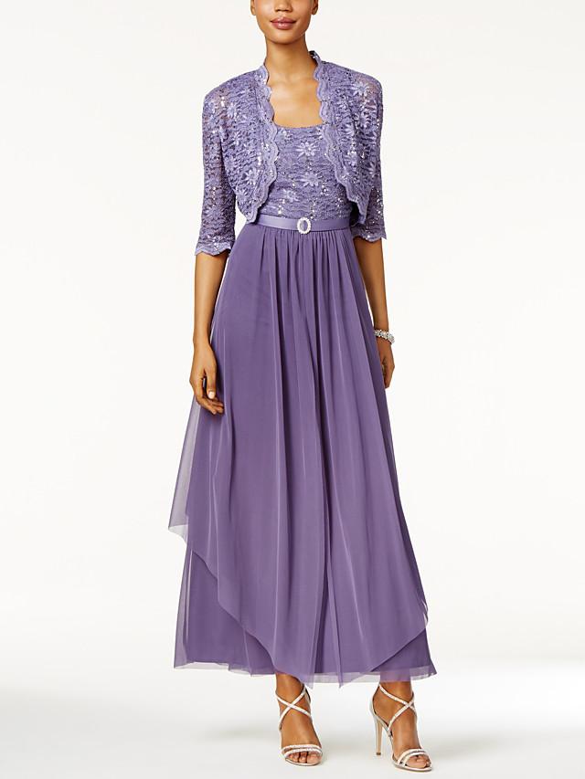 A-라인 신부 어머니 드레스 랩 포함 국자 목 발목 길이 쉬폰 레이스 반 소매 와 레이스 타이어 2021