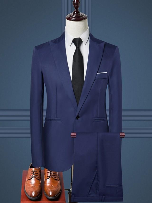 Blanche / Noir / Rouge Bordeaux Couleur Pleine Coupe Sur-Mesure Polyester Costume - En Pointe Droit 1 bouton