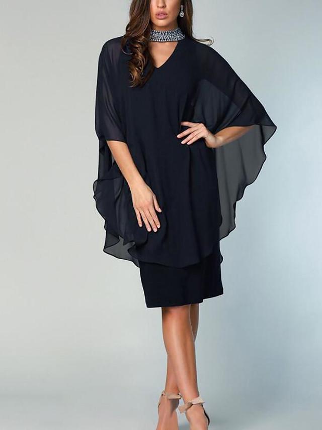 시스 / 칼럼 신부 어머니 드레스 우아함 하이 넥 무릎 길이 쉬폰 반 소매 와 크리스탈 디테일 2021