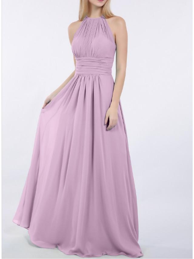 시스 / 칼럼 쥬얼리 바닥 길이 쉬폰 신부 들러리 드레스 와 루시 주름 장식