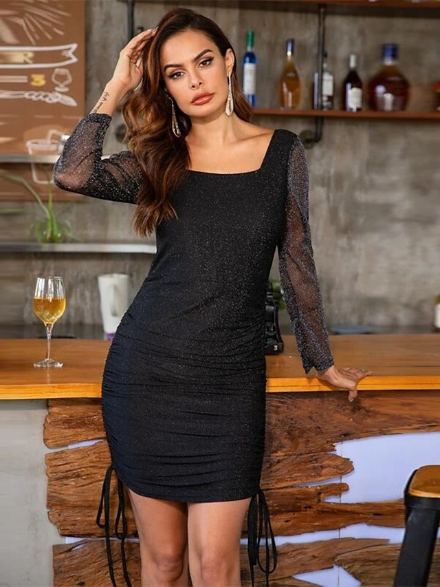 Strak / kolom Zwart jurkje Sexy Schoolfeest Cocktailparty Jurk Scoop Neck Lange mouw Kort / Mini Spandex met Ruches 2020