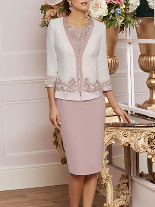 Fourreau / Colonne Robe de Mère de Mariée  Echarpe incluse Bijoux Mi-long Dentelle Jersey Manches 3/4 avec Billes Appliques 2021
