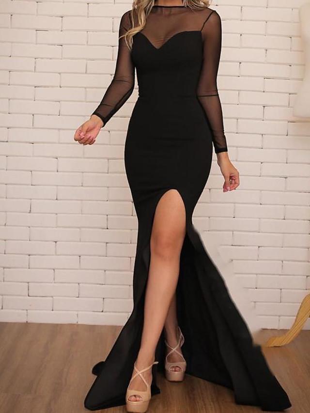 Mermaid / Trumpet Minimalist Sexy Wedding Guest Formal Evening Dress Illusion Neck Long Sleeve Floor Length Stretch Fabric with Split 2021