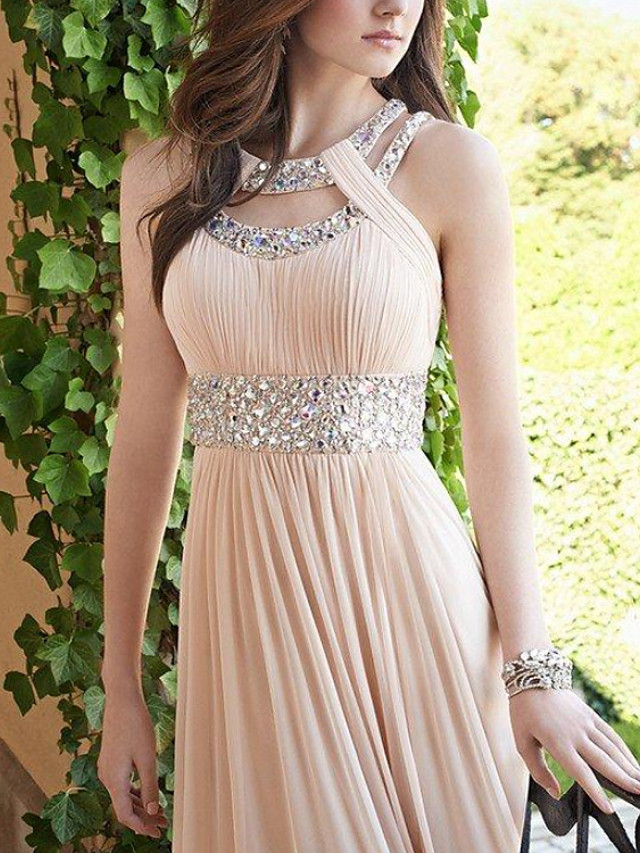 Sheath / Column Cut Out Elegant Engagement Formal Evening Dress Halter Neck Sleeveless Floor Length Chiffon with Pleats Beading 2021