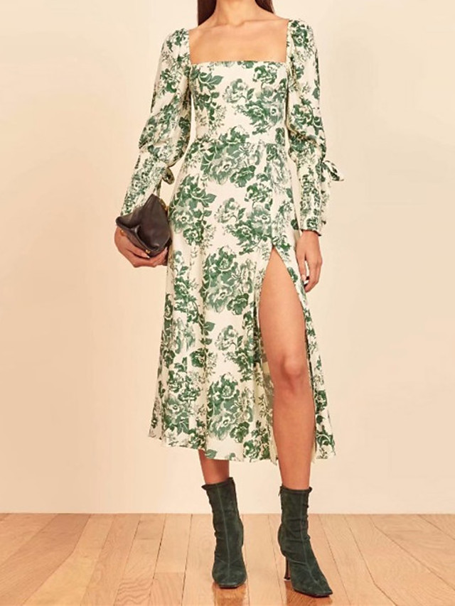 A-Line Maxi Floral Holiday Cocktail Party Dress Scoop Neck Long Sleeve Tea Length Cotton with Pattern / Print 2021