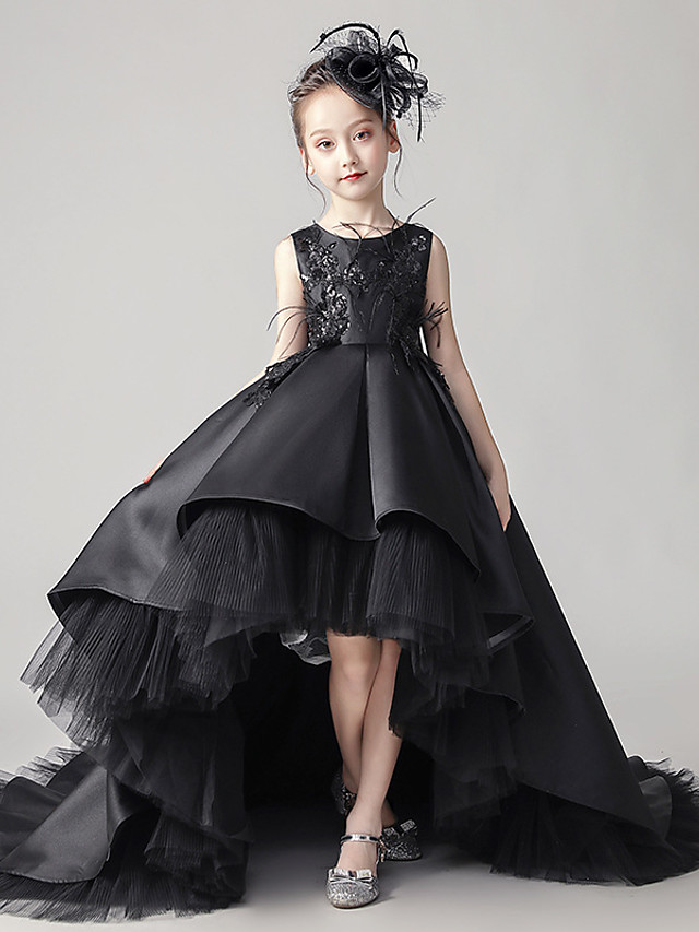 Princess Sweep / Brush Train / Asymmetrical Party / Event / Party Flower Girl Dresses - Satin Sleeveless Jewel Neck with Buttons / Pleats / Tier