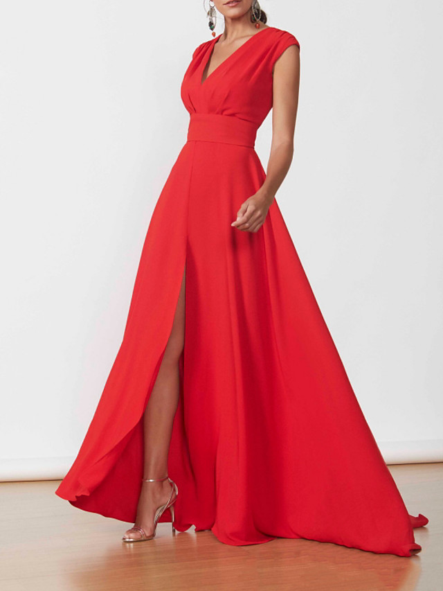 A-Line Minimalist Elegant Wedding Guest Formal Evening Dress V Neck Sleeveless Floor Length Chiffon with Split 2021