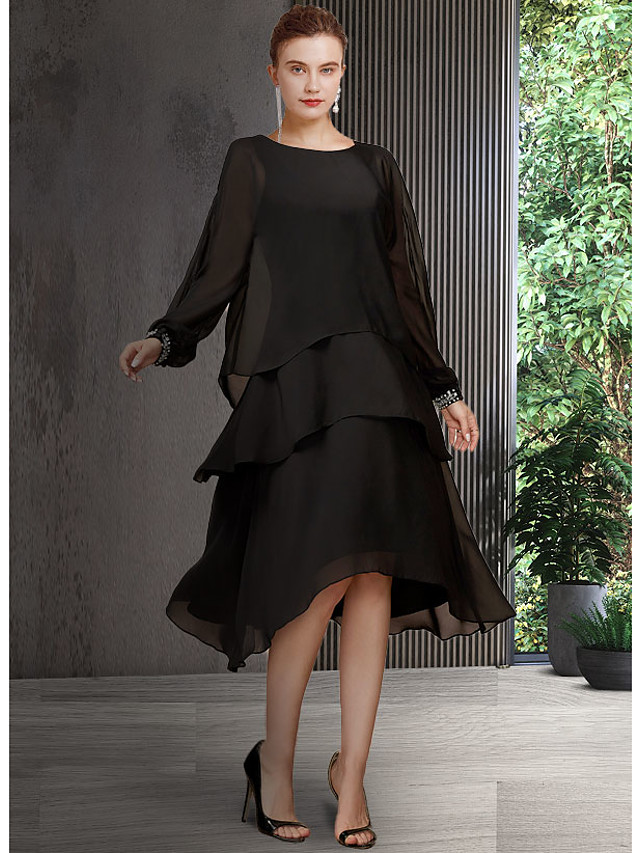 A-Line Mother of the Bride Dress Elegant Jewel Neck Asymmetrical Chiffon Long Sleeve with Sequin Tier 2021