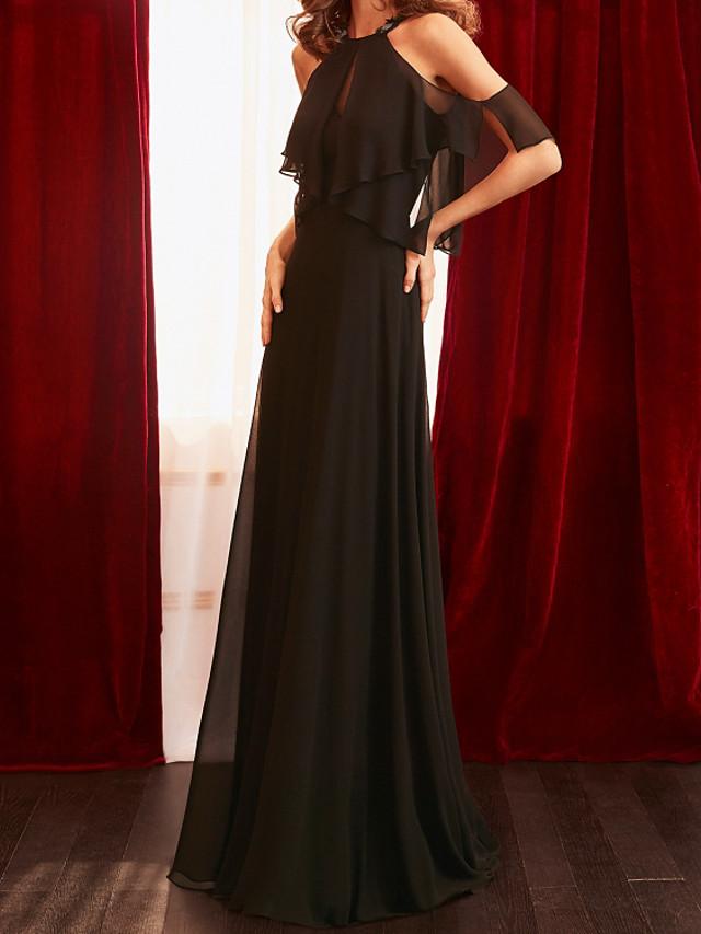 A-الخط الحد الأدنى أنيق ضيف حفل زفاف حفلة رسمية فستان قبة مرتفعة حول الرقبة بدون كم ذيل مثل الفرشاة شيفون مع طيات 2021