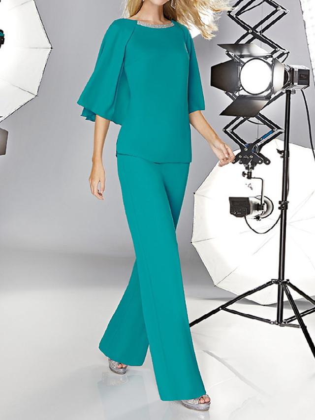 Jumpsuits Minimalist Elegant Wedding Guest Formal Evening Dress Jewel Neck Half Sleeve Floor Length Chiffon with Sleek 2021