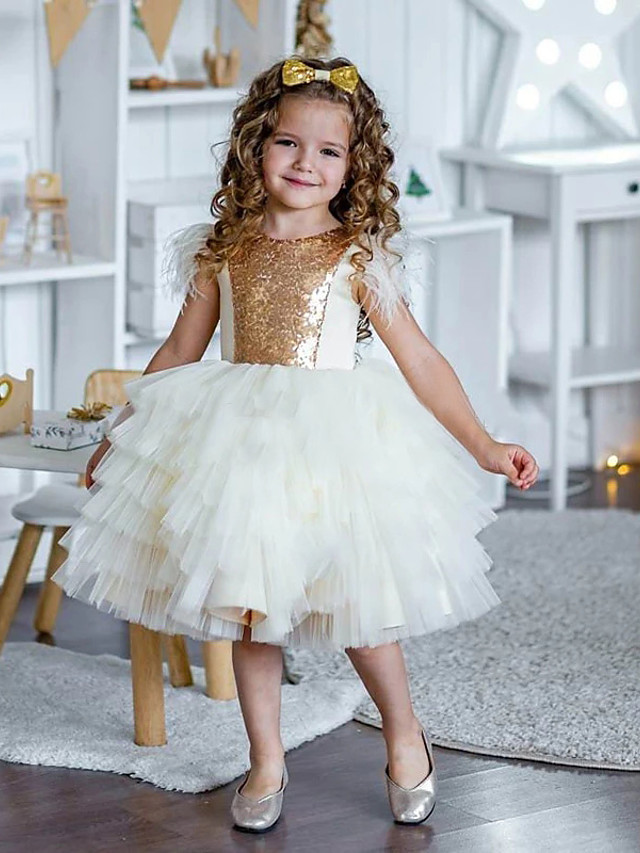 Princess / Ball Gown Knee Length Wedding / Party Flower Girl Dresses - Tulle / Sequined Sleeveless Jewel Neck with Tier / Appliques / Paillette