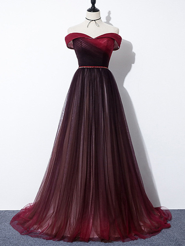 A-Line Color Block Elegant Engagement Formal Evening Dress Off Shoulder Sleeveless Sweep / Brush Train Tulle with Sash / Ribbon Pleats 2021