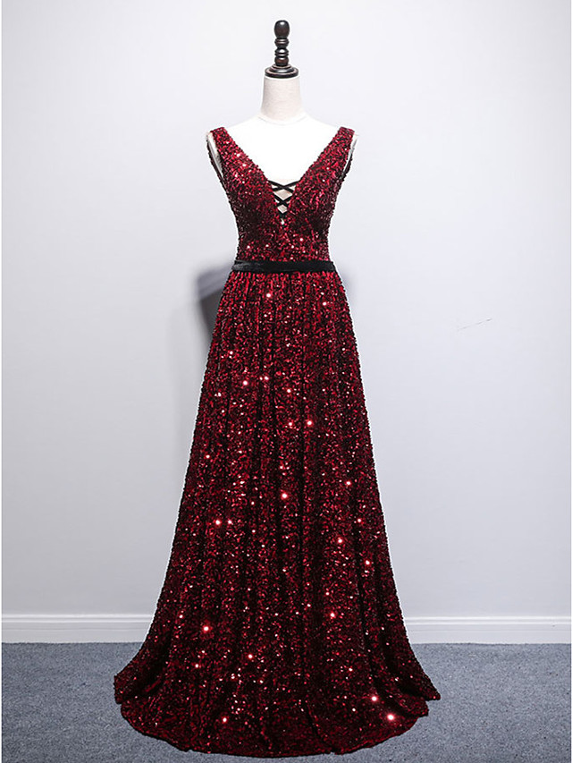 A-Line Sparkle Sexy Prom Formal Evening Dress V Neck Sleeveless Sweep / Brush Train Sequined with Pleats Sequin 2021