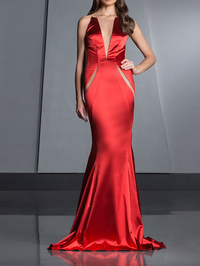 Mermaid / Trumpet Beautiful Back Sexy Engagement Formal Evening Dress Illusion Neck Sleeveless Court Train Satin with Sleek 2021