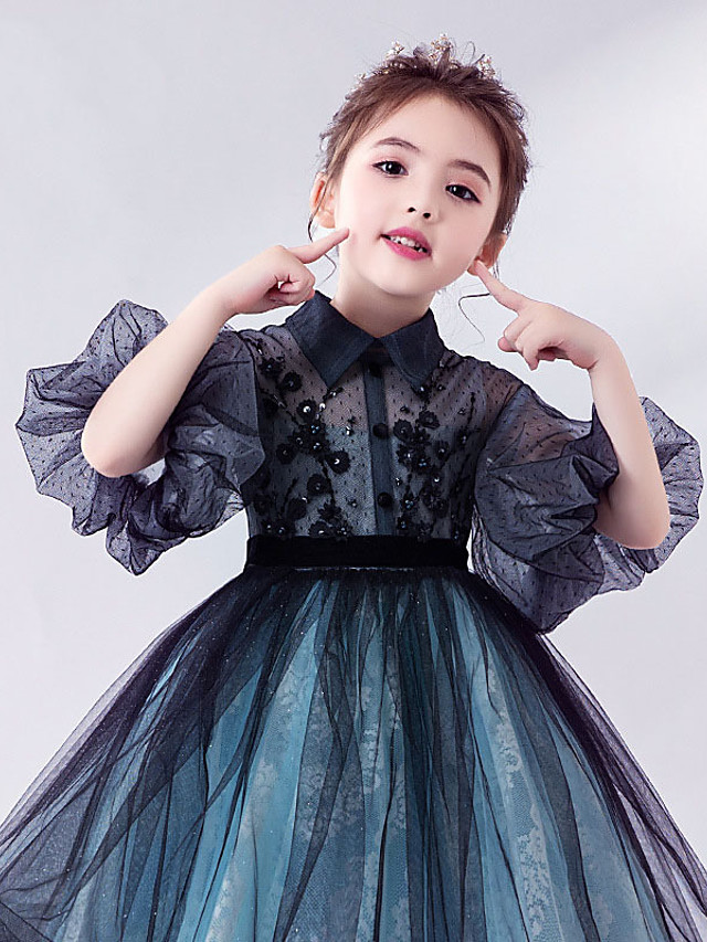 Princess Above Knee Homecoming / Birthday Flower Girl Dresses - Tulle Short Sleeve Off Shoulder with Tier / Tiered / Paillette