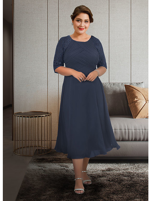 A-Line Mother of the Bride Dress Plus Size Elegant Jewel Neck Tea Length Chiffon Lace Half Sleeve with Pleats Appliques Ruching 2021