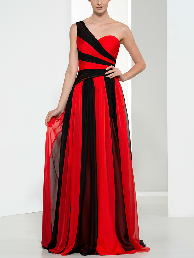 Sheath / Column Color Block Sexy Wedding Guest Formal Evening Dress One Shoulder Sleeveless Floor Length Chiffon with Pleats 2021