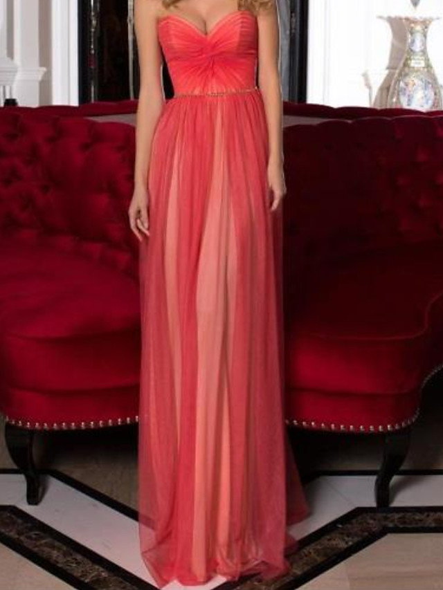 Sheath / Column Minimalist Sexy Engagement Formal Evening Dress Sweetheart Neckline Sleeveless Floor Length Satin with Pleats 2021