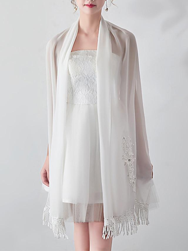 Sleeveless Flower Style / Bridal Chiffon / Orlon Wedding / Party / Evening Shawl & Wrap / Women's Wrap With Tassel / Flower