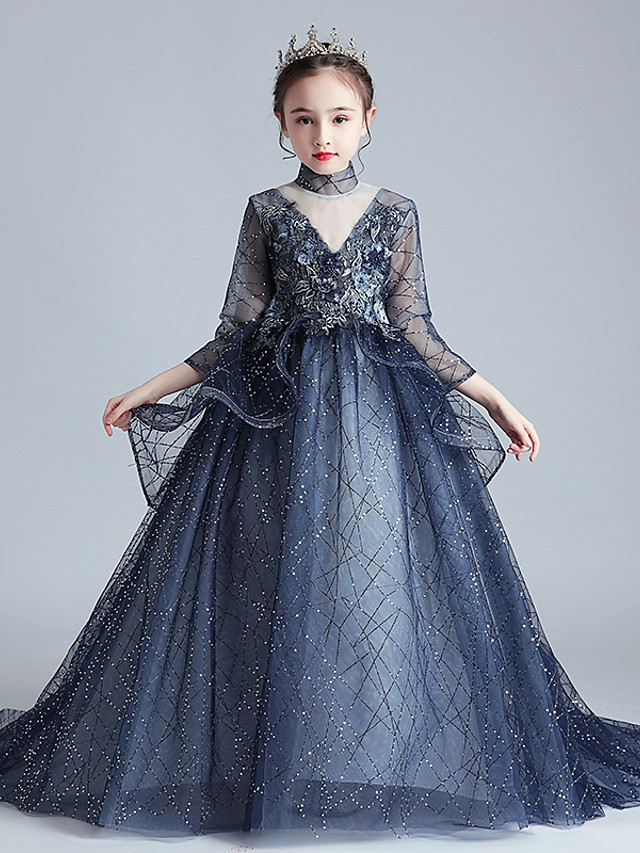 Princess Sweep / Brush Train Event / Party / Formal Evening Flower Girl Dresses - Lace / Tulle 3/4 Length Sleeve Illusion Neck with Lace / Appliques / Solid