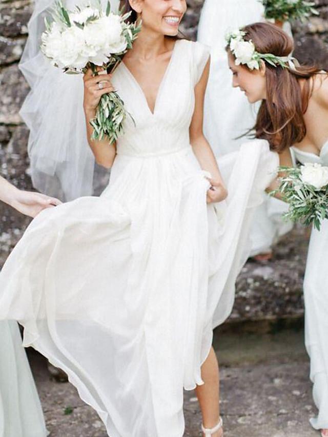 A-Line Wedding Dresses V Neck Floor Length Chiffon Sleeveless Simple Beach with 2021