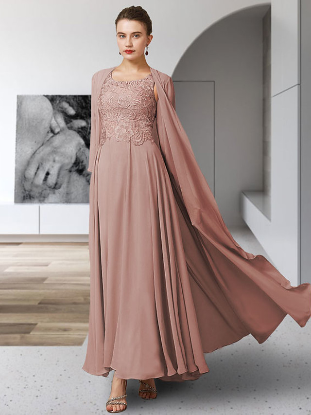Two Piece A-Line Mother of the Bride Dress Elegant Jewel Neck Ankle Length Chiffon Lace Sleeveless with Pleats Appliques 2021