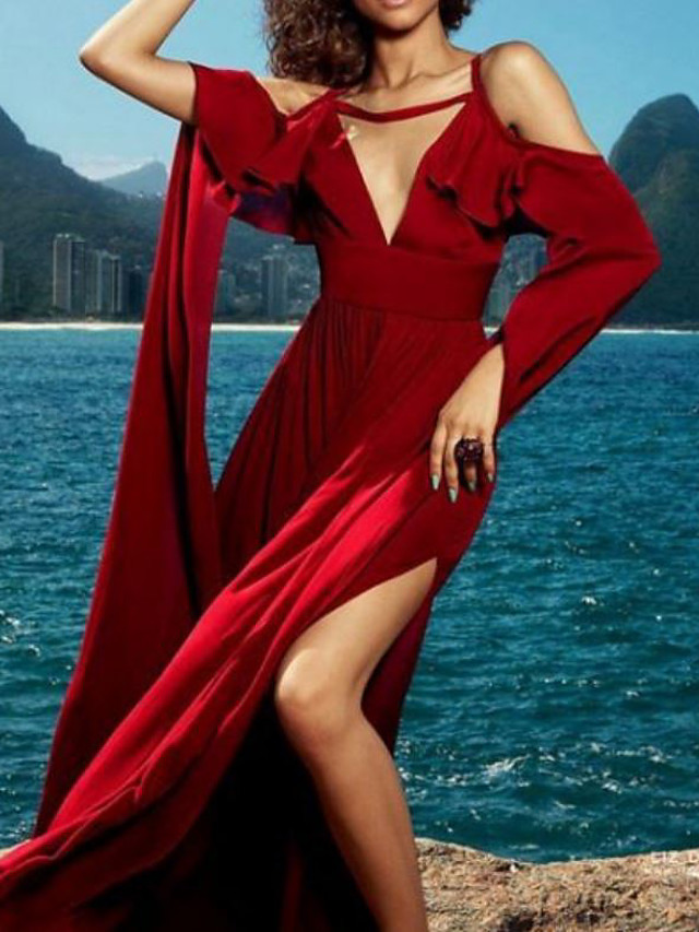 Sheath / Column Celebrity Style Maxi Holiday Formal Evening Dress V Neck Half Sleeve Floor Length Spandex with Ruffles Split 2021